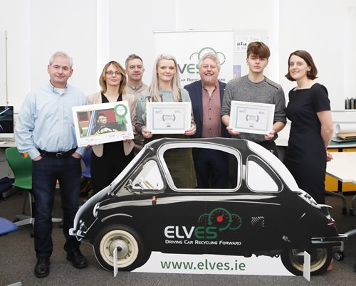 Photographed at the ELVES awards were the runners up students Sinead Mitchell, O'Surry St., Limerick and Conor Bourke, Thurles. Also in the photograph were Barry Holian,  Animation & Motion Design lecturer, Limerick School of Art & Design LIT, Lee Jane Eastwood, ELVES, David Phelan, Animation & Motion Design lecturer, Limerick School of Art & Design LIT, Mikce Fitzpatrick, Dean, Limerick School of Art & Design and Elena Wrelton, Enviromental Compliance Manager, ELVES.