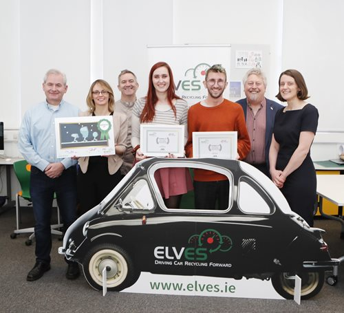 Photographed at the ELVES awards were runners up students Anna Dreimane, Limerick, Mikey Casshell, Ennis (and missing Kate Deegan, Portlaoise).  Also in the photograph are Barry Holian, Animation & Motion Design lecturer, Limerick School of Art & Design LIT, Lee Jane Eastwood, ELVES, David Phelan, Animation & Motion Design lecturer, Limerick School of Art & Design LIT, Mikce Fitzpatrick, Dean, Limerick School of Art & Design and Elena Wrelton, Enviromental Compliance Manager, ELVES.