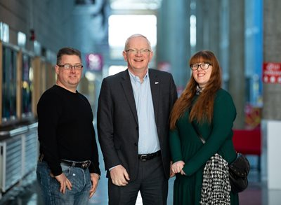 Pictured at the 2020 LIT Engineering Open Day were, father and daughter Engineering students, Jessica and Garry Winters, Shannon Co. Clare with Prof. Vincent Cunnane, President LIT. Picture by Alan Place