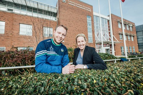 Paul Browne and Joy Neville pictured at the Limerick Institute of Technology Sports Scholarship Awards.